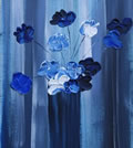 "BLUE FLOWERS - Acrilyc on canvas (12""x24"") SOLD"
