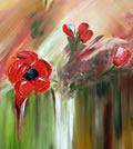 "POPPIES - Oil on canvas (12""x24"")"