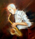 "SAXOPHONIST  - Oil on canvas (16""x16"") SOLD"